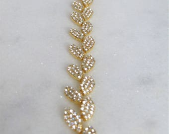 Gold Leaves Crystal Rhinestone Bridal Sash,Wedding sash,Bridal Accessories,Bridal Belt,Style # 45