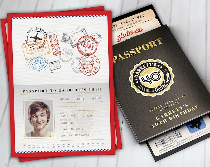 PASSPORT and TICKET birthday invitation, travel birthday party invitation, Austin, Texas, Lone star, Digital files only, Texas theme