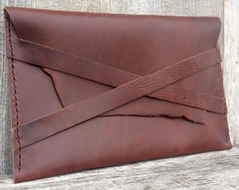 Leather Envelope Clutch Handmade in Smooth, Heavy, Oxblood Brown, with Natural Edges - Simple - Chic - Rustic Gift for Her by Stacy Leigh