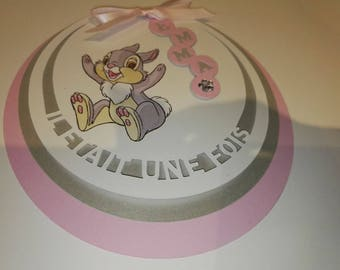 """Set of 10 invitations round """"Once upon a time"""" Thumper"""