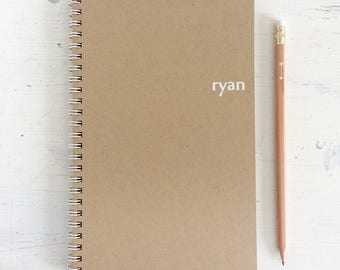 personalized foil pressed notebook with kraft pages