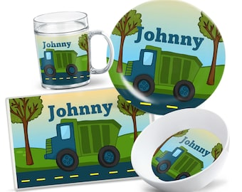Kids Garbage Truck Tableware - Custom Plate Set - Personalized Kids Plate - Kids Bowl - Kids Placemat - Dinnerware for Kids - Party Decor