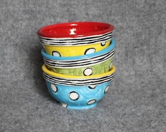 Polka Dot Mini Bowls, Teacher Appreciation, Stripes, Food prep bowls, dip bowls, jewelry dish, wedding, Christmas, bright fun colors