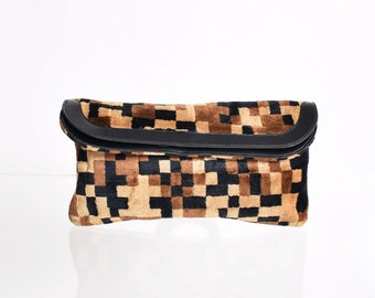 Vintage 1960s Pixelated Fabric Clutch 60s Tapestry Bag