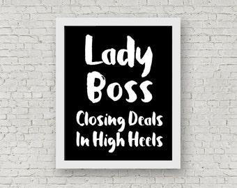 Lady Boss Printable - Motivational Quote – Typography Art – Printable Décor – Office Décor – Home Décor – Wall Art Printable
