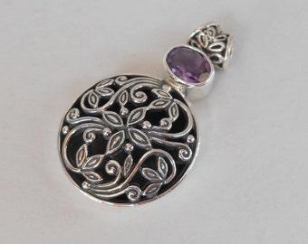 Balinese Sterling Silver Pendant Amethyst gem / silver 925 / Bali handmade jewelry / 1.60 inch long / (#100m)
