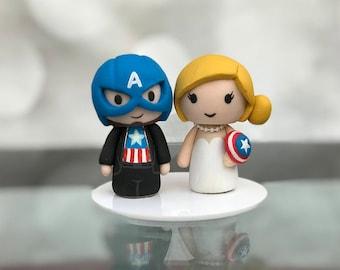 Captain America wedding cake topper