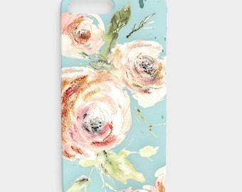 iPhone SE Floral - Phone case iPhone 6 Plus, Rose iPhone Case, Galaxy S7 plus case, Galaxy S7 floral case, iPhone X,  pink flower case, blue