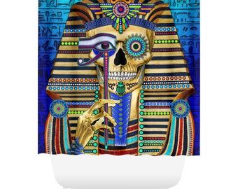 Egyptian Sugar Skull Shower Curtain - King Tut Inspired Skull Bath Curtain - Day of the Dead Bathroom Decor - Funky Bone Pharaoh