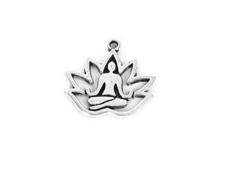 SET of 10 charms yoga zen lotus flower Silver (W69)