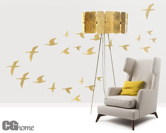 Birds Wall Decals Nursery Wall Stickers Baby Room Decals Gold Bird Golden SET of 26 BIRDS for bird lovers wall decal GOLD birds CGhome
