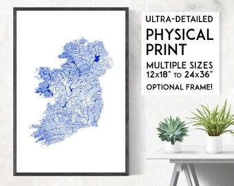 Waterways of Ireland print   Physical Ireland map print, Ireland poster, Ireland wall art, Ireland art print, Ireland map art, Ireland gift