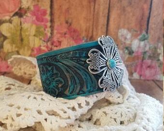 Silver Filigree Flower Black & Turquoise Leather Cuff Bracelet> Southwestern/ Boho Bracelet/ Country Gypsy/ Wristband/ Floral Jewelry