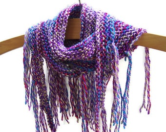 Boho Fringe Summer Scarf - Knit - Neck Wrap - Multi Color