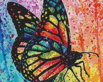 Modern Cross Stitch Kit, Carissa Rose Stevens Art, Butterfly Cross Stitch, Needlecraft Kit, Colorful Art Needlecraft Set, Modern Stitch Art