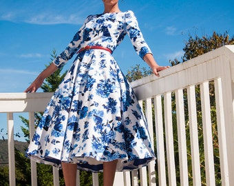 "1950's style floral The ""Mod June Dress"" Demure31-The Exclusive Collection"