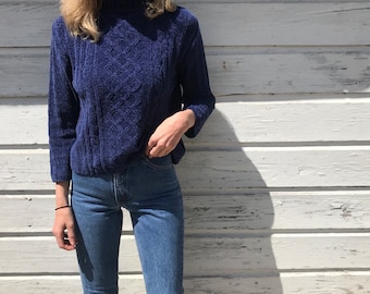 Vintage 90s Blue Chenille Mock Neck Semi-Cropped Pullover Sweater by Erika