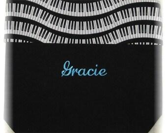 PIANO MUSIC lesson book tote bag personalized black canvas wavy keyboard musician kids birthday recital teacher gift idea