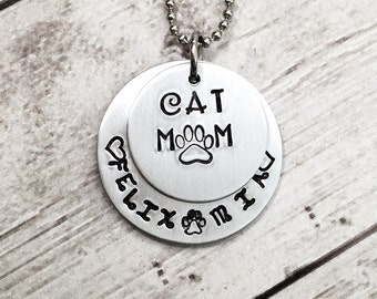 Cat Mom Necklace - Cat Mom Christmas Gift - Fur Baby Necklace- Cat Lady Gift - Pet Names Necklace