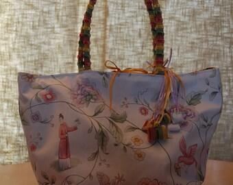 Shoulder bag tote bag. UNIQUE, REVERSIBLE Chinoiserie patterns