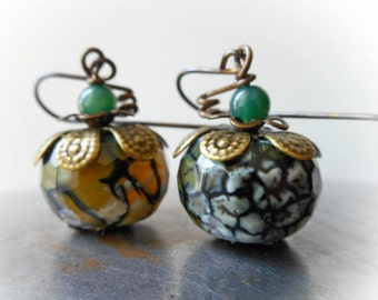 Organic Pumpkins earrings handmade dangle lime green agate stone bead brass big berry fruit moss grass agate olive black yellow green rustic