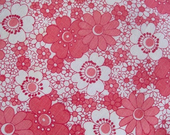 Vintage Sheet Fabric, Floral Vintage Sheet, Sheet Fabric, Reclaimed Fabric, Pink And White Flower Print, Patchwork Fabric, Old Sheet Fabric