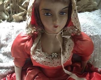 Vintage Boudoir Bed Doll Silk Dress