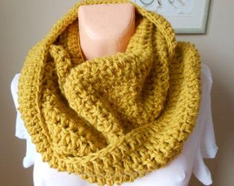 Crochet Infinity Scarf Cowl Neck Warmer Mustard Yellow