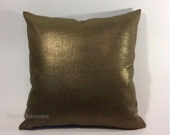 Bronze Metallic  Decorative Pillow Cover - Medium Weight Linen- Invisible Zipper Closure