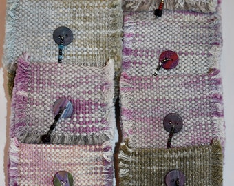 Hand-dyed, handwoven little bags, coin purse, cotton, with magnetic snap closure, handmade button with beads in several color ways
