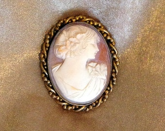 Conch Shell Cameo, Cameo Pin, Cameo Brooch