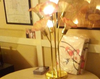 Pink and brass vintage lamp