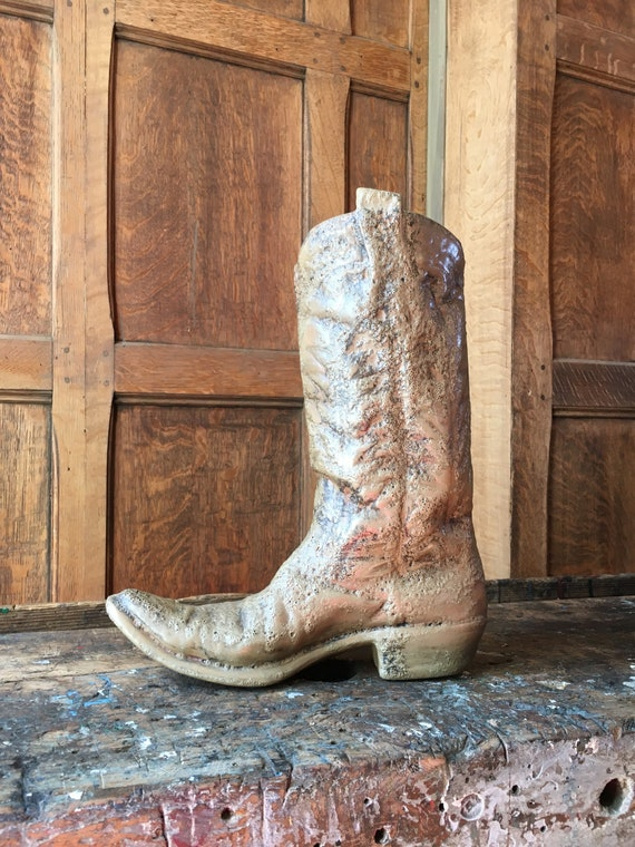 Vintage Ceramic Cowboy Boot, Western Decor, Cowboy Boot Planter Pottery, Rustic Southwestern Decor