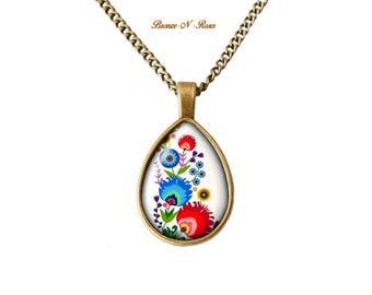 Embroidery folk Slavic patterns Russian cabochon necklace