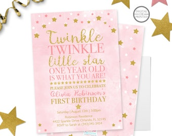 Twinkle Twinkle Little Star First Birthday Invitation | Twinkle Twinkle Little Star Invitation | Star | Pink and Gold | First Birthday
