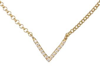V Gold necklace, Chevron necklace, CZ gold necklace, Geometric necklace, Pave necklace, Cubic zirconia necklace, Delicate necklace