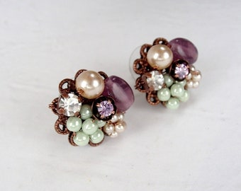 Vintage Style Jewelry. Cluster Earrings in Pastel Color. Pearl Purple Green. Sweet Romantic Fantasy Jewelry. Crystal Rhinestones and Pearls.
