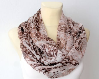 Snake Infinity Scarf Shawl Silk Infinity Scarf Silk Chiffon Scarf Brown Silk Scarf Spring Women Gift for Mother Small Scarves Summer Outdoor