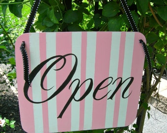 Custom Hand Painted Chic Boutique Store Open And Close Wood Sign