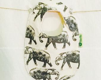 Elephant Baby Bib - Handmade, 100% Cotton, Made in Australia, Newborn Bib, Toddler Bib, Dribble Bib, Funky Bib, Unique Bib, Retro Bib