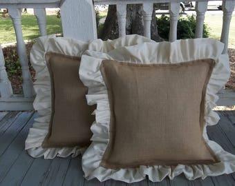 Pair Ruffled Burlap Pillows Custom Burlap Pillow Shams Decorative Pillows French Country Burlap Bedroom Pillows Ruffled Pillows Set of 2