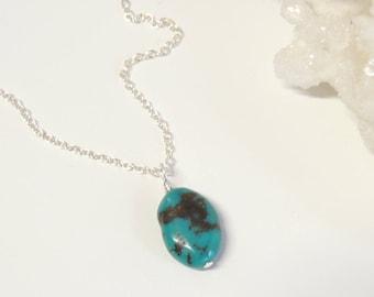 Boho Turquoise Nugget Necklace, Turquoise Necklace, Pendant Necklace, Gemstone Necklace, Layering Necklace