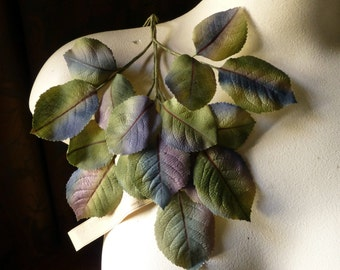 Silk Leaves Vintage Czech in Green Blue Ombre for Bridal, Boutonnieres, Hats, Headbands ML 31