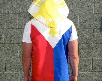 Philippines Flag Hoodie - Filipino windreaker - mens clothing - vest- hoodie - mens shirt - mens jacket - upcycled clothing - red - white