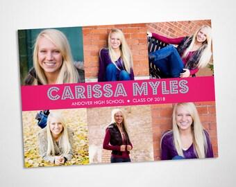 Photo collage graduation announcement, party invitation, class of 2018, custom colors
