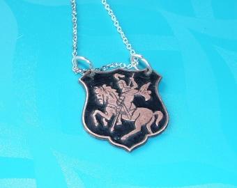 Champlevé Black Knight on a Horse Enamel Necklace