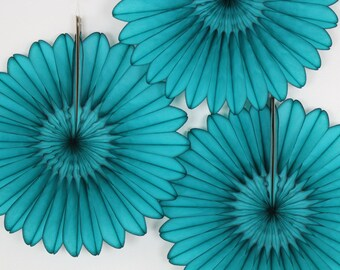 Paper Fans- Wedding Decoration, Baby Shower decor, Birthday parties- 3 Teal Fans