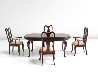 Miniature Dining Room Set, Dollhouse Dining Room Set, Table & Chair Set, Miniature Dining Table, Miniature Dining Chairs, 6 Pc Set