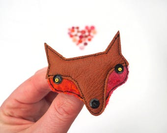 Fox Brooch For Ladies & Girls Eco Accessories Made From Recycled Tan Leather Pink and Orange Wool