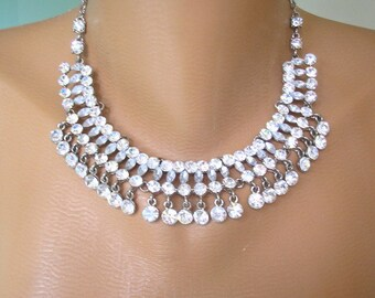 Rhinestone Collar, Great Gatsby, Bridal Jewelry, Rhinestone Bib, Diamante Choker, Deco, Wedding Necklace, Crystal Choker, Prom, Party